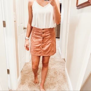 NWOT SUEDE BUTTON SKIRT
